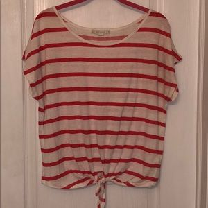 Forever 21 Pink/Red Striped Tie-Front Top